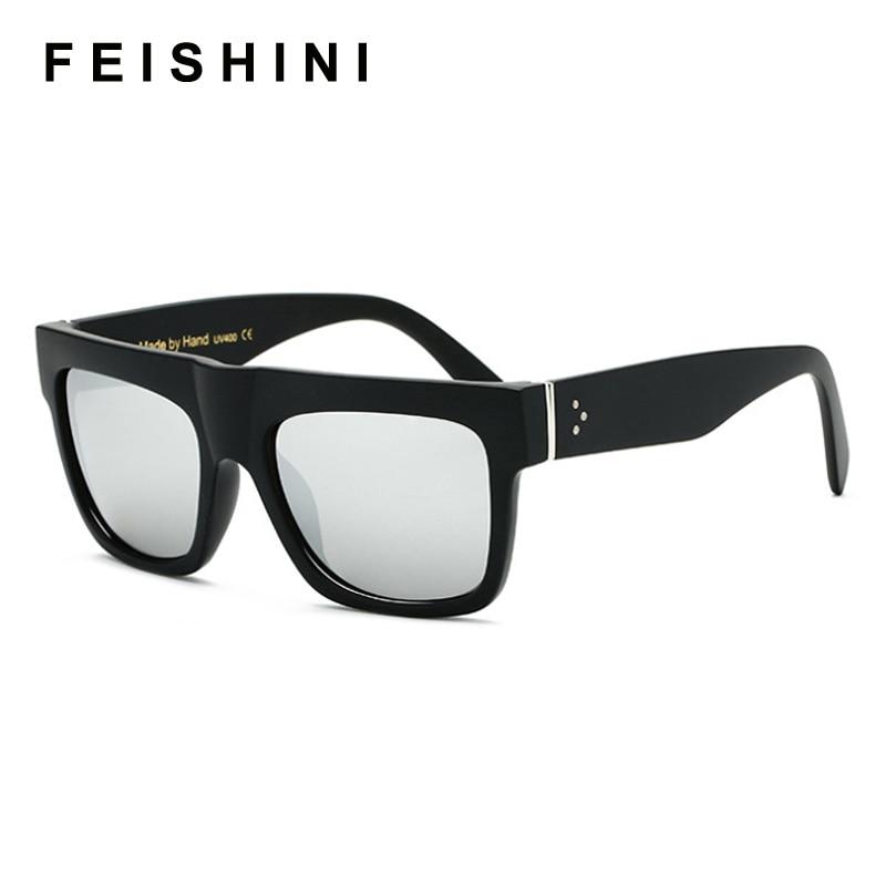 FEISHINI Flat White Top Sunglasses Oversize Goggles Mens Square Sunglasses Women Fashion Famous Brand Rivet Black Vintage Shades