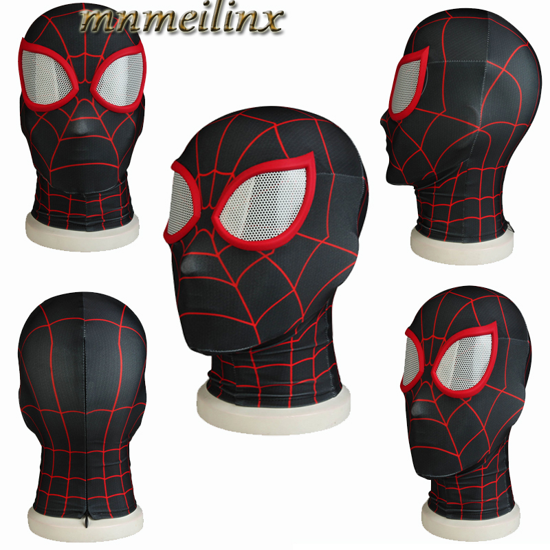 Spider-man:into The Spider-verse Spiderman Cosplay Costume Costume Spidey Mask Full Hat Halloween Free Size Free Shipping Elegant In Smell Novelty & Special Use