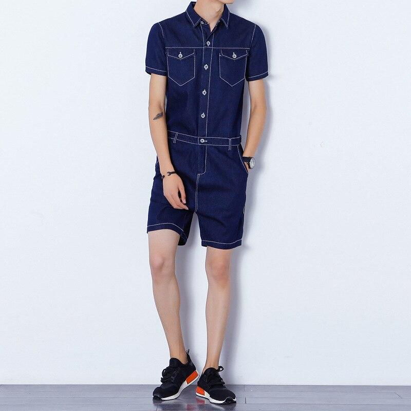 Aismz Mens Rompers Short Sleeve Denim Jumpsuit Romper Playsuit Beach Overalls One Piece Slim Fit Brand Clothing Union Suit