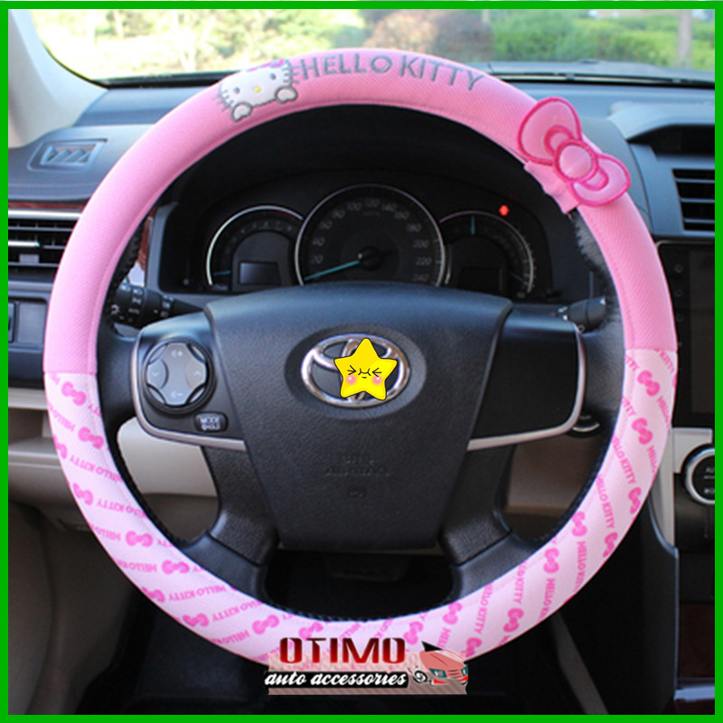 buy car styling hello kitty car steering wheel cover cartoon cute pink hello. Black Bedroom Furniture Sets. Home Design Ideas