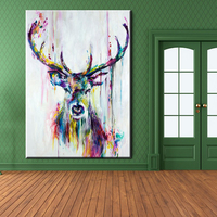 Xh181 Big Triptych Watercolor Deer Head Poster Print Abstract Animal Picture Canvas Painting No Frames Living