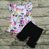 Aiqqwit Vendendo Hot New Design Feliz Fazenda Boutique Roupas de Bebê Menina de Verão crianças Conjuntos de Roupas