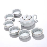 Chinese Ge kiln crack tea set,6 tea cups and 1 tea pot, Kung Fu teaset..The most creative China gift,Ceramic Drinkware puer