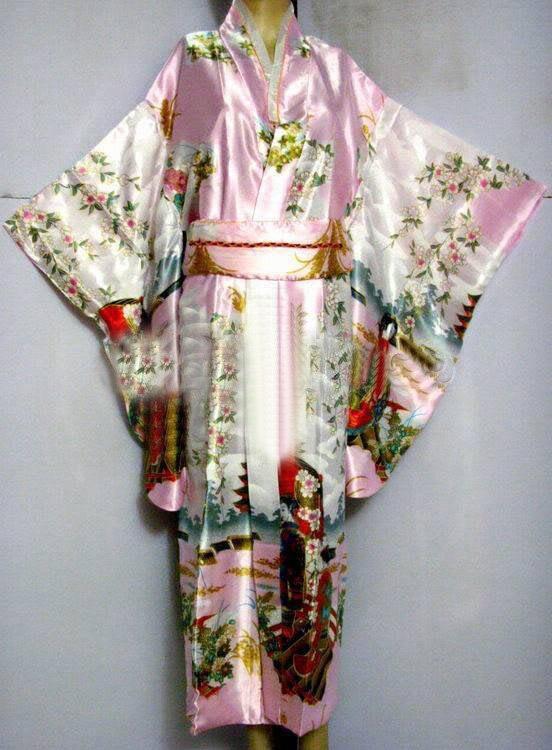 Pink Japanese Women's Silk Satin Kimono Yukata Evening Dress Haori Kimono With Obi Peri One Size H0016-C