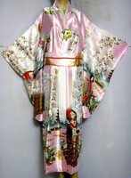 Pink Japanese Women's Silk Satin Kimono Yukata Evening Dress Haori Kimono With Obi peri One Size H0016 C