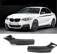 NEW Carbon Fiber Car Front Lip Splitters Bumper Aprons Cup Wings Flaps For BMW 2 Series M235i M240i F22 M Sport 2014 2018