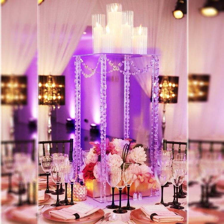 Pièce maîtresse carrée de Table de mariage de 60 cm de haut, pièce maîtresse de mariage de support de fleur de Table, décoration de mariage