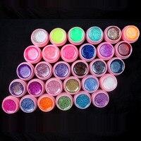 Nuevo 30 Color Brillo UV Gel Constructor Extremidades Falsas de Acrílico Del Arte Del Clavo Kit de Uñas Conjunto crisol rosado