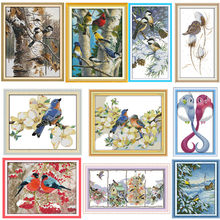 Autumn birds Chinese Counted Cross Stitch Patterns Kits Embroidery Cross Sets 14CT 11CT Printed On Canvas DMC Cross-stitch Kit(China)