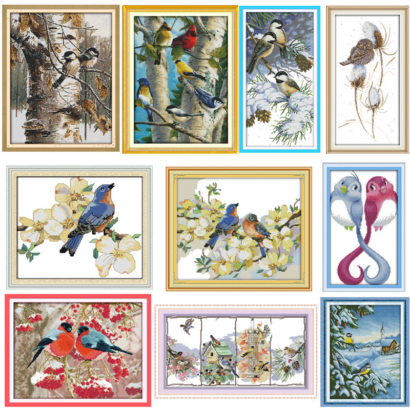 Autumn Birds Chinese Counted Cross Stitch Patterns Kits Embroidery Cross Sets 14CT 11CT Printed On Canvas DMC Cross-stitch Kit