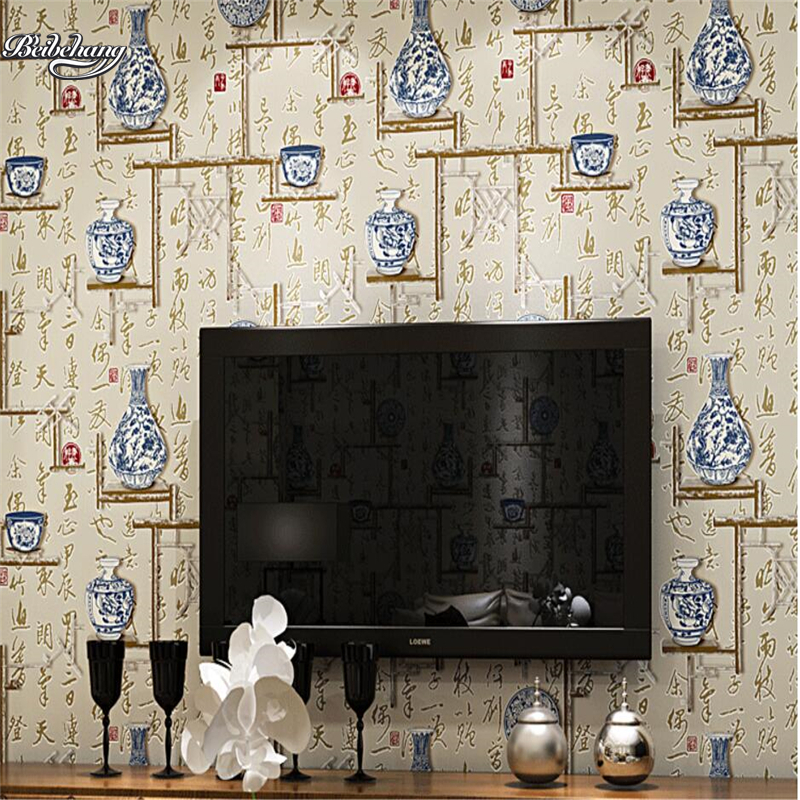 beibehang Classical 3d blue and white porcelain non-woven background wall wallpaper modern simple restaurant restaurant beibehang blue wallpaper non woven