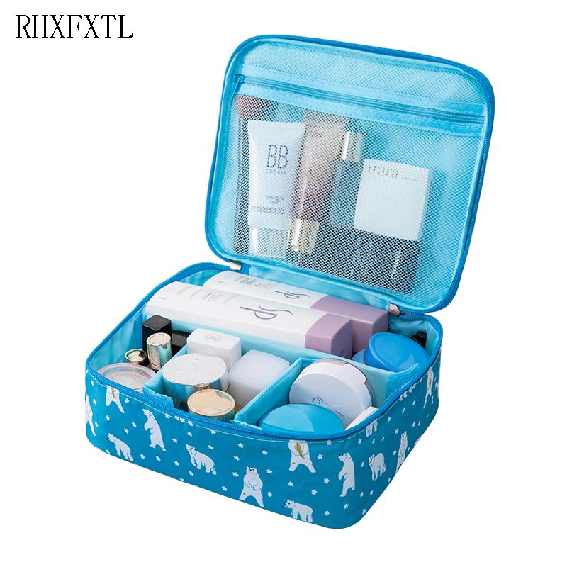 RHXFXTL Women Cosmetic bag Organizer travel Beautician Portable Double zipper Men lady makeup bag girl high quality Storage bags цена 2017