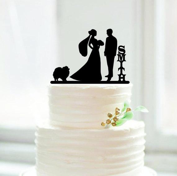 658d5b8007 La novia y el novio personalizado cake Topper con apellido wedding cake  Topper con perro la boda decoración mariage