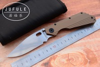 JUFULE OEM ST SMF TC4 Titanium handle D2 blade ball bearing Folding hunt camping outdoor Tactical multi EDC Tool kitchen knife