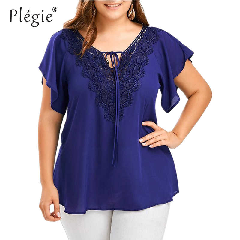 Plegie Plus Größe Spitze Patchwork Shirt Frauen Tops Und Blusen Kurzarm Großen Größe Blusas Femininas Blusas Mujer De Moda 2020