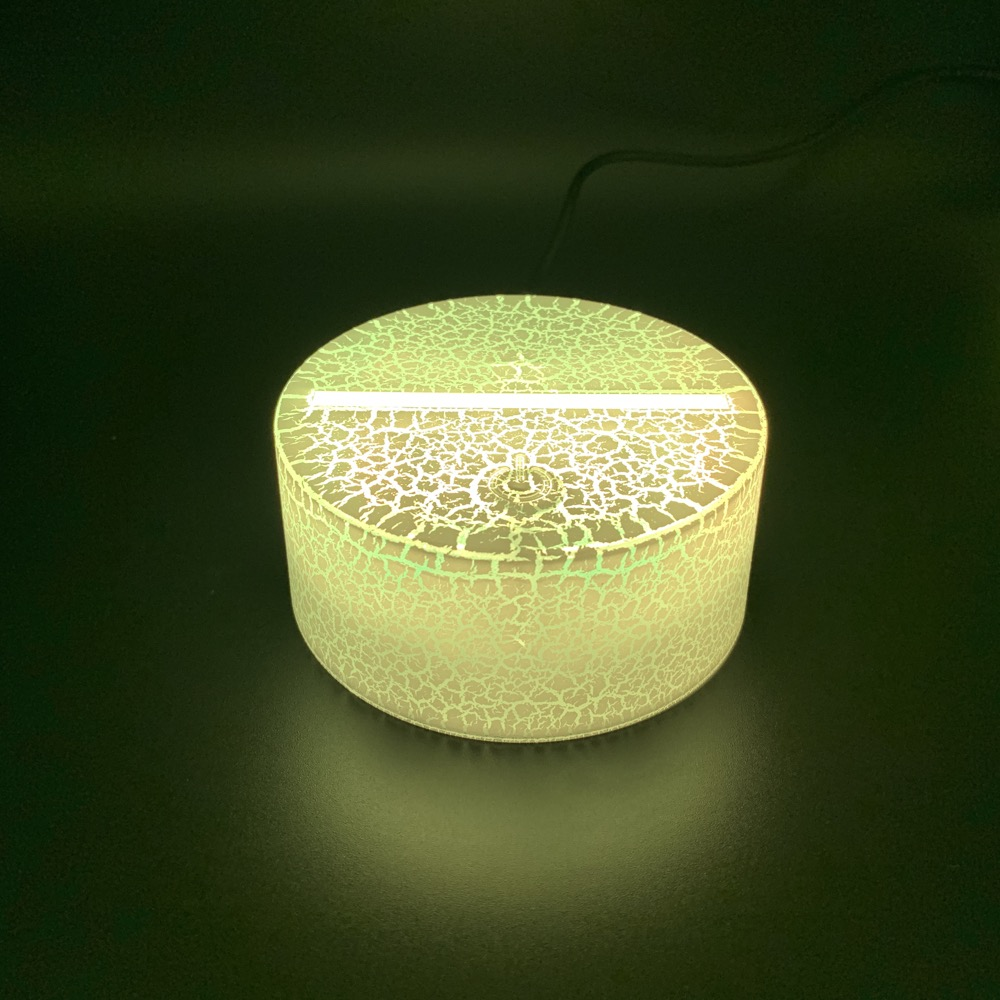 3D LED Night Light Lamp Crack Base Glowing USB Cable Touch Sensor 7 Color Changing Battery Powered Remote Controller Base Prize