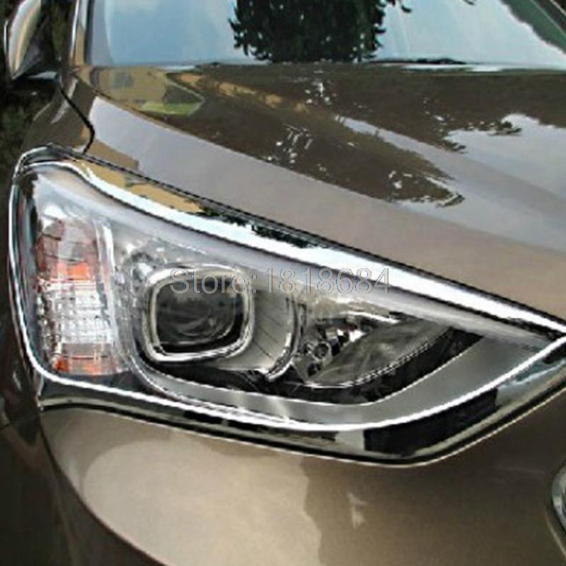 For Hyundai Santa Fe 2013-2015 5dr Hatchback ABS Chrome Car Accessories Front Headlight Lamp Bezel Cover Frame Trims 2pcs/set