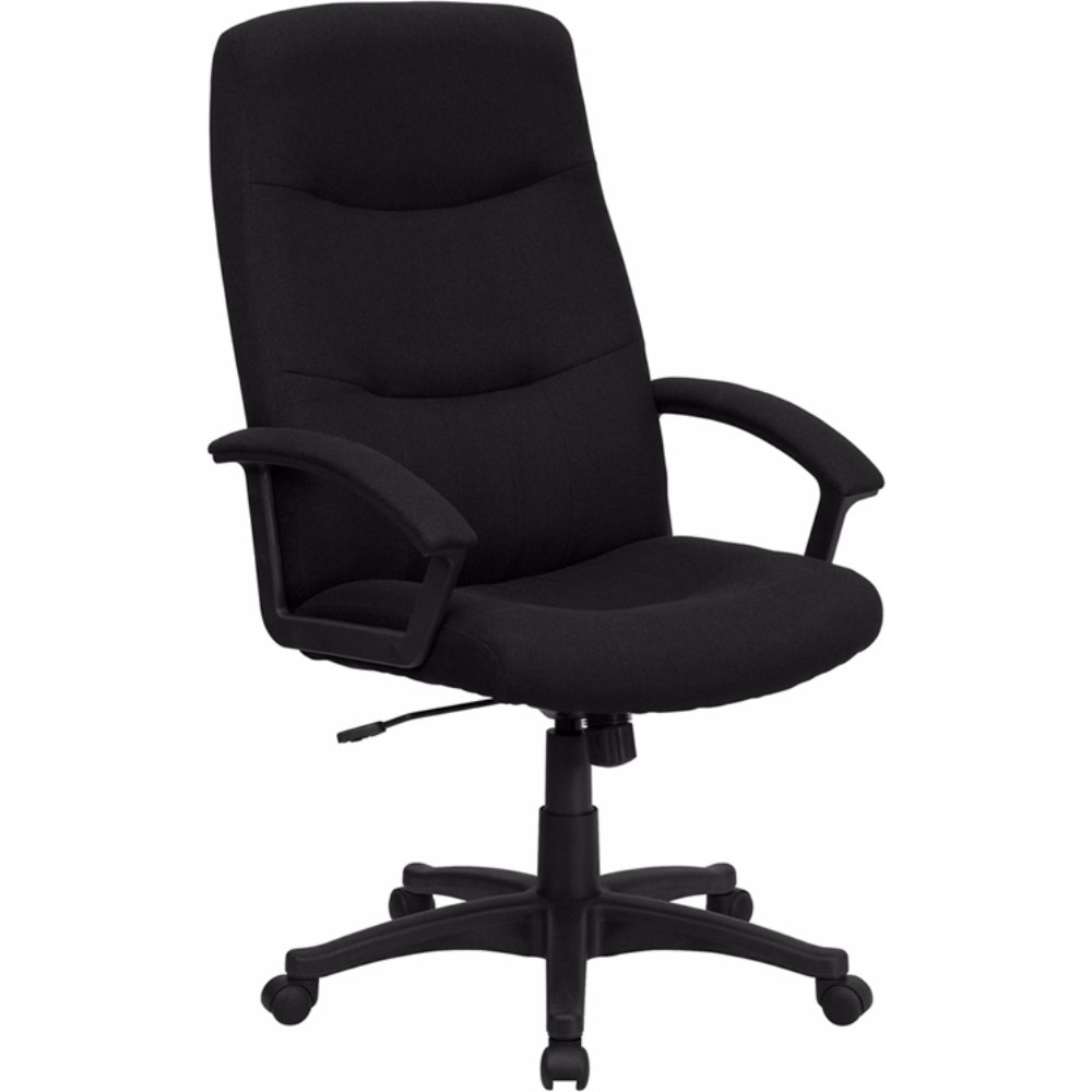 Flash Furniture High Back Black Fabric Executive Swivel Office Chair 1 4 5 pcs 3 universal mute wheel replacement office chair swivel casters rubber rollers black 60kg wheels furniture hardware