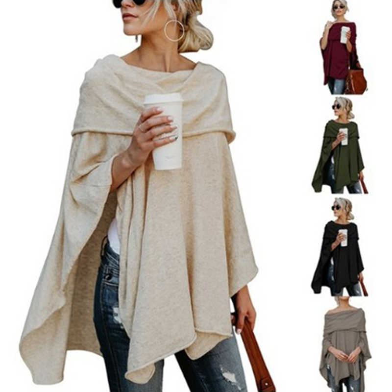 Spring Autumn Asymmetric Sweater Women Poncho Pullover Sweater Asymmetric Overlay Solid Clothing Ladies Casual Fall Tops