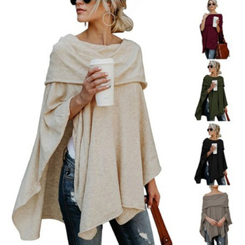 Off Shoulder Top Asymmetric Overlap Solid Poncho Pullover Sweater Women Fashion Clothing Ladies Casual Fall Tops