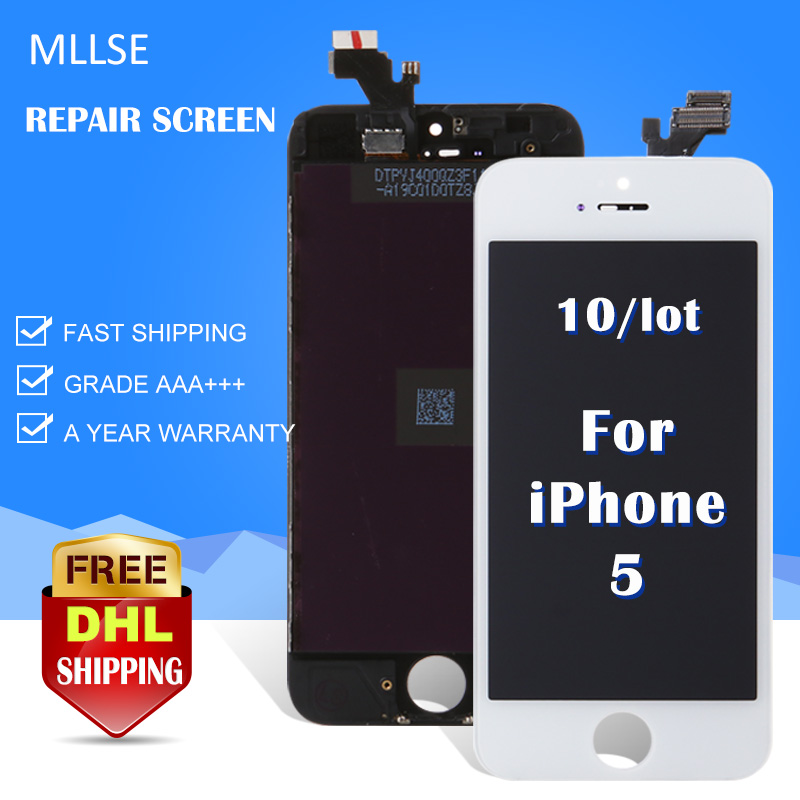 10pcs/LOT AAA Display For iPhone 5 LCD Touch Screen replacement assembly with Digitizer Ecran Black or White Free DHL Shipping white black color new lcd display touch digitizer screen glass for google pixel s1 with logo free dhl shipping 5pcs lot