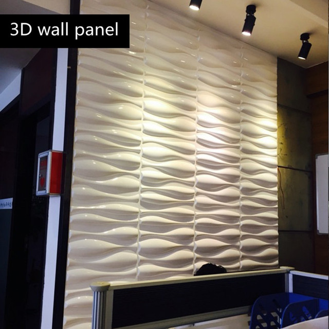 Glossy White Wave Textured Wall Panels 12 Pcs Covering 32 29 Sq