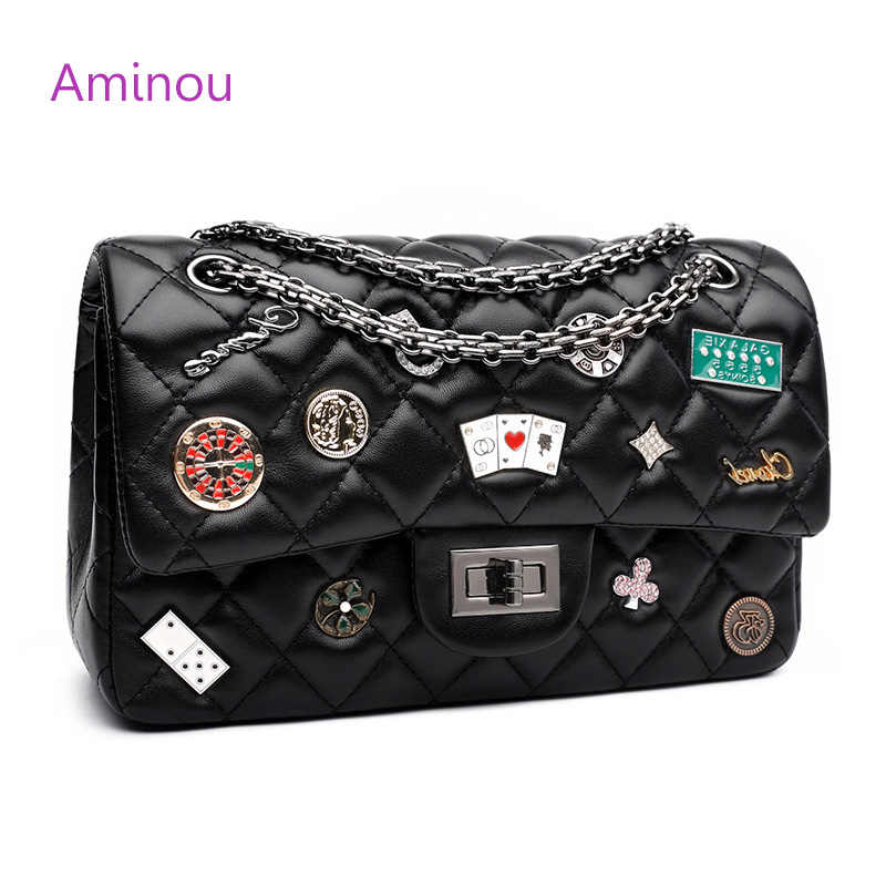 Aminou 2018 New Design Shoulder Bag Chain Belt With Badge For Women Good Quality Diamond Lattice Bags Lady  Crossbody Handbags kitavt75417unv10200 value kit advantus id badge holder chain avt75417 and universal small binder clips unv10200