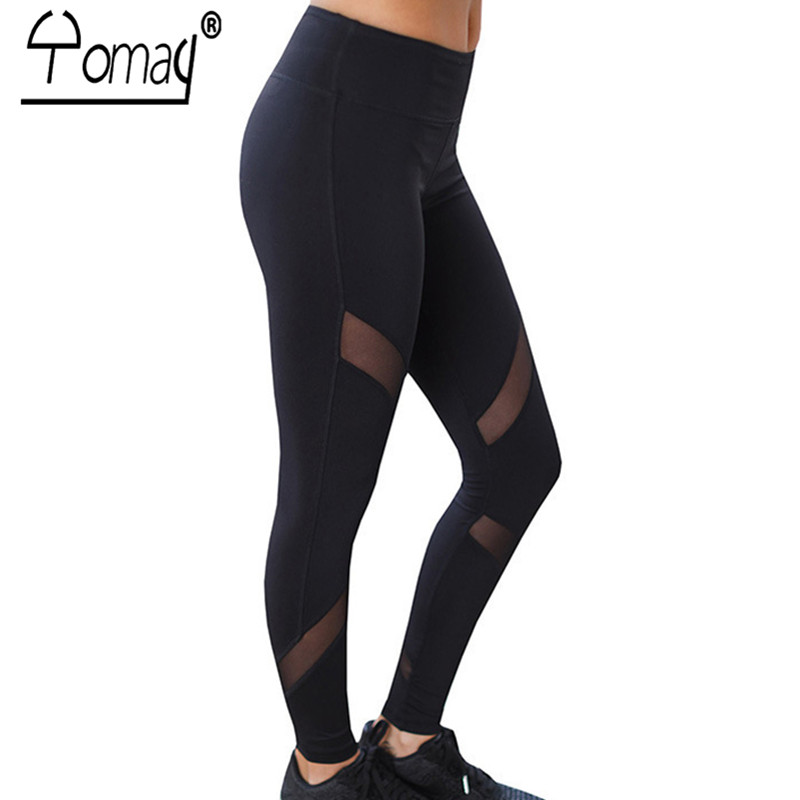 YOMAY Quick Dry Net Yarn Yoga Running Pants Black High Waist Elastic Fitness Slim Sport Pants Gym Leggings For Women Trousers