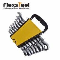 Flexsteel 8PC Flexible Head Ratcheting Combination Wrench Spanner Set Metric 8 10 11 12 13 14
