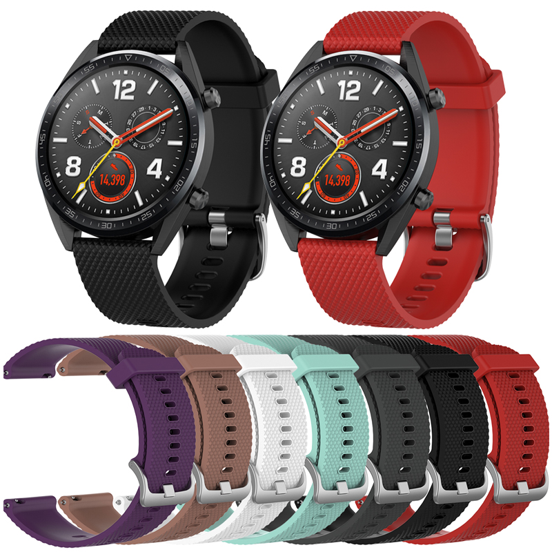 Silicone Wrist Strap For Huawei Watch GT Watch Band 22mm Wristband Belt For Huami Amazfit GTR 47MM Bracelet Band Metal Buckle