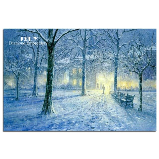 Diamond Mosaic Painting Snowy Night Cross Stitch Winter Scenery Of Embroidery Woods