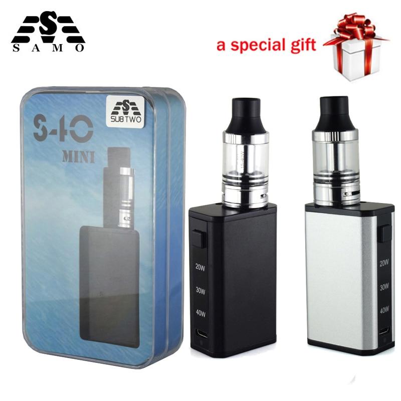 Heißer S40 mini Box Mod variable leistung Elektronische Zigarette vape stift kit mit 2,0 ml 0.5ohm tank 20 watt- 40 watt verdampfer e-zigarette kit