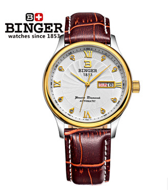 2017 new Binger sports watches Automatic Dual Movt Day Date Design Round Dial Steel Case watch Fashion Brown Leather wristwatch original binger mans automatic mechanical wrist watch date display watch self wind steel with gold wheel watches new luxury