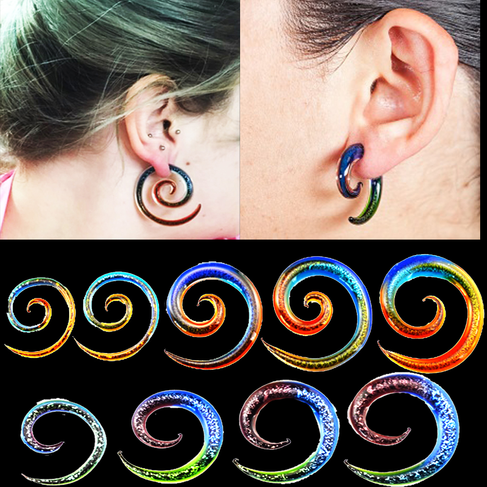 Details about  /Earrings Stud Plug Tunnel Stretcher Expander Unisex Acrylic Spiral Taper Ear JB