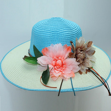 New Hit Color Ladies Straw Hat Artificial Flower Woven Wide-Brimmed Sun 2019 Summer Travel Beach Sunscreen