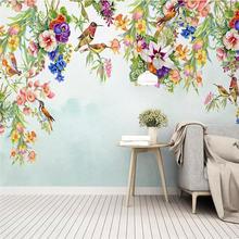 3d фото обои скандинавские расписанные вручную цветы и птицы