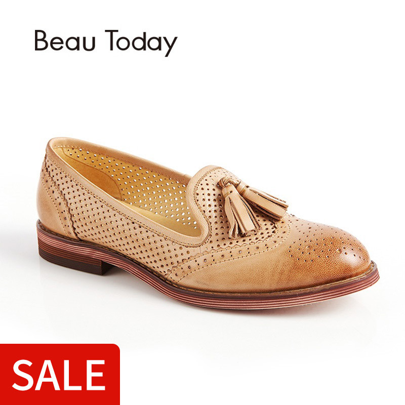 BeauToday Genuine Leather Loafer Women Round Toe Slip On Hollow-out Shoes with Fringes Waxing Sheepskin Flats for Ladies 27504BeauToday Genuine Leather Loafer Women Round Toe Slip On Hollow-out Shoes with Fringes Waxing Sheepskin Flats for Ladies 27504