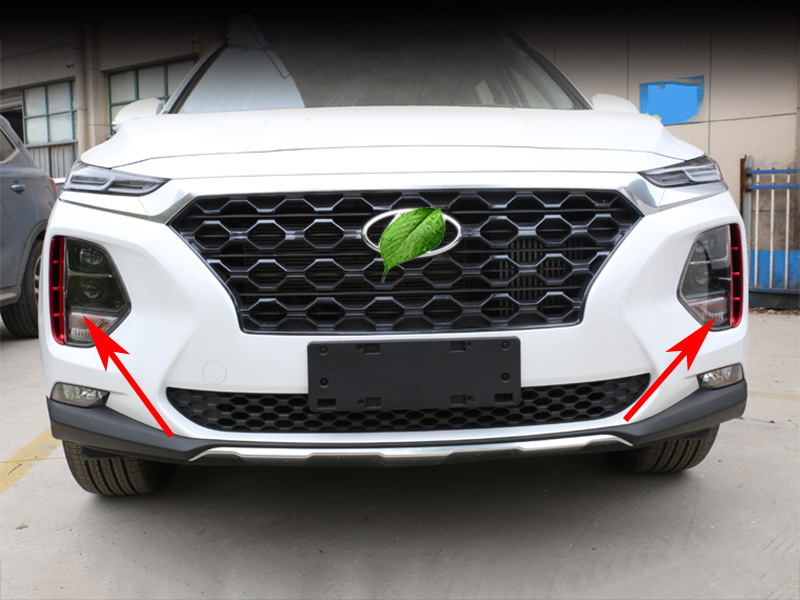Image 5 - Car headlights air intake trim chrome style exterior accessories for Hyundai Santa Fe Santafe IX45 4TH 2019 2020-in Chromium Styling from Automobiles & Motorcycles