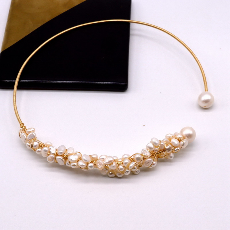 Elegant and luxurious natural white baroque pearl collar natural freshwater pearl collar 100% handmade gold necklace jewelry