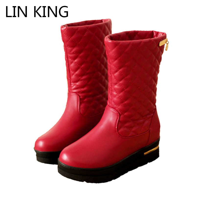 LIN KING New Flat Thick Sole Women Snow Boots Plaid Solid Fashion Warm Plush Lady Boots Preppy Style Girls Winter Shoes Big Size new winter children snow boots boys girls boots warm plush lining kids winter shoes