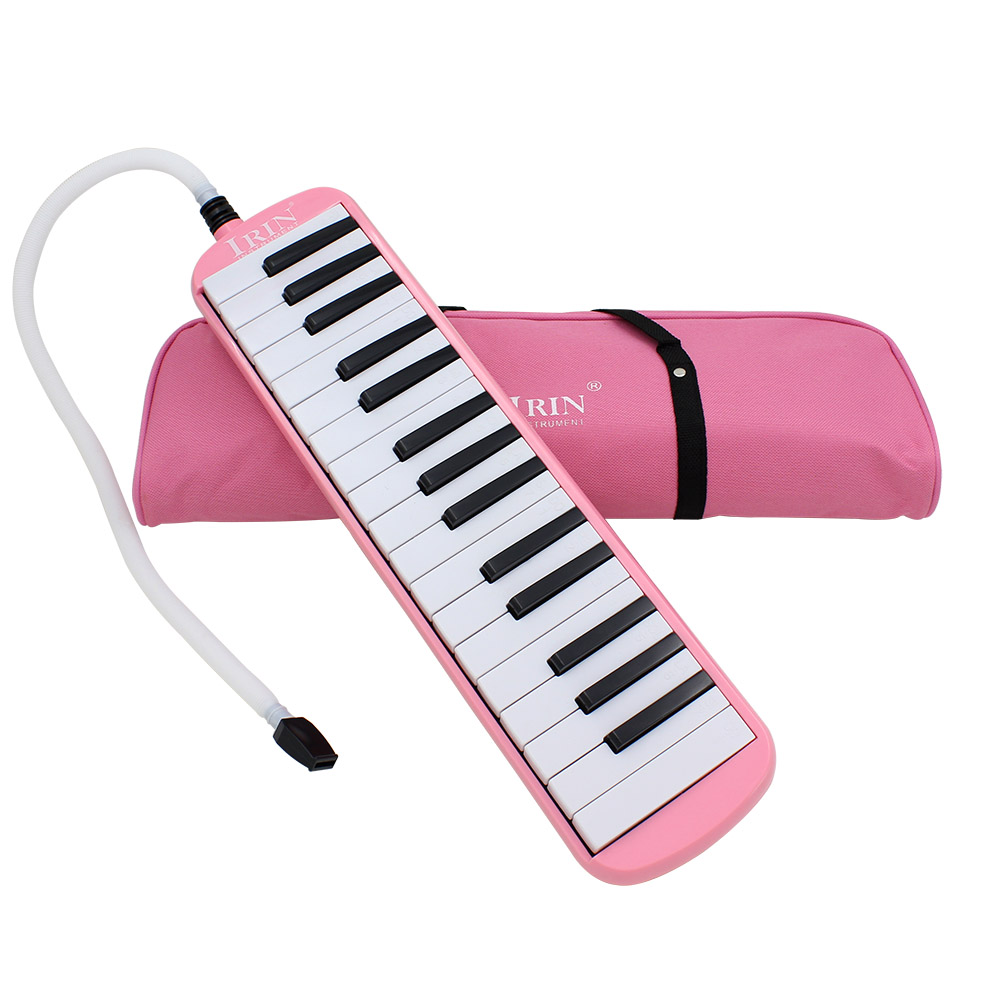 Pink <font><b>32</b></font> <font><b>Keys</b></font> <font><b>Melodica</b></font> with Portable Carrying Bag Musical Instrument Piano Style Harmonica for Music Lovers image