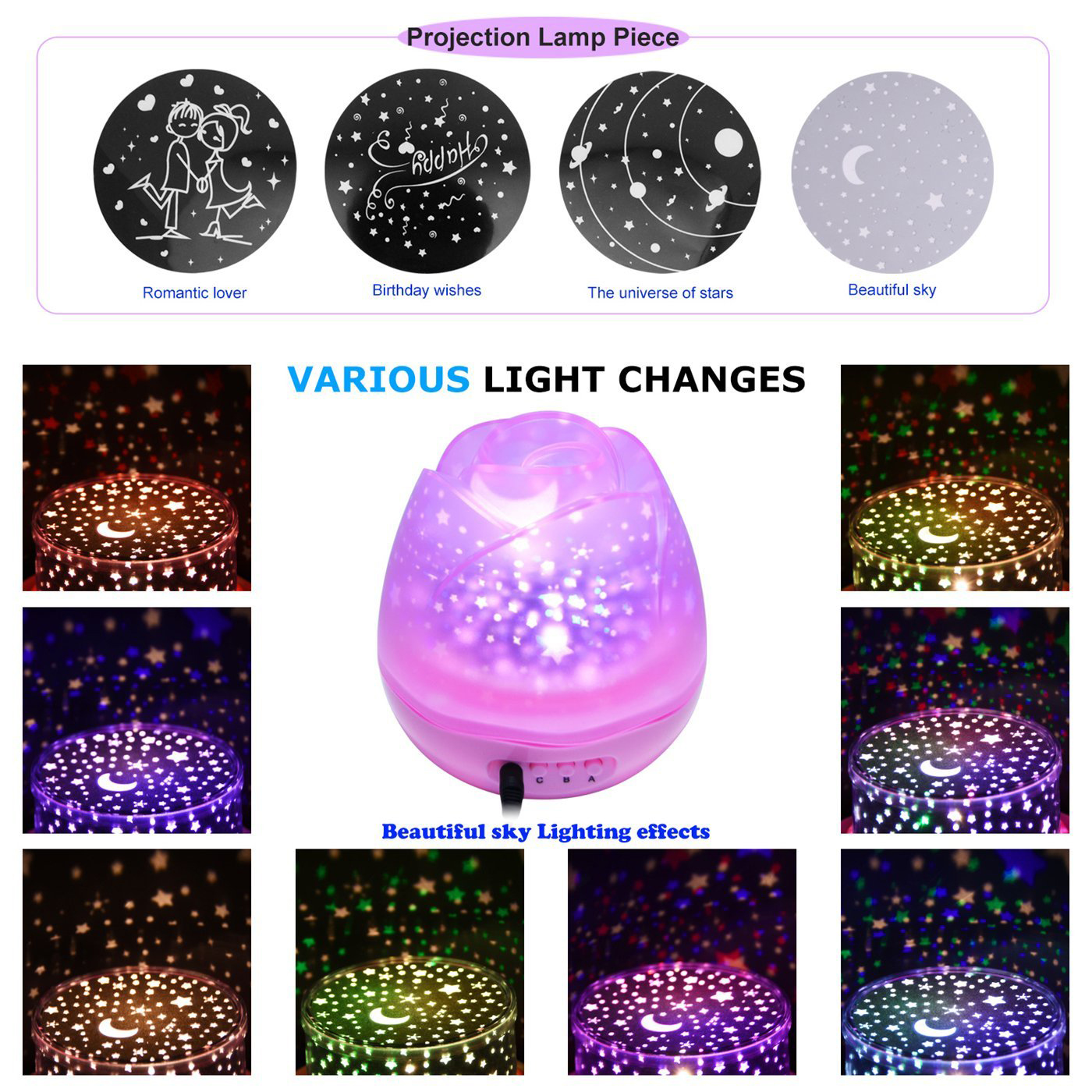 New Star Moon Sky Rotation Night Light Romantic Projector Light Projection with High Quality Kids Bedsides Led Flower Lamp