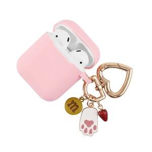 Image 5 - Màu Hồng Dễ Thương Silicone Rung Phụ Kiện Tai Nghe Bluetooth Chụp Tai Hoạt Hình Bảo Vệ Thỏ Móc Khóa