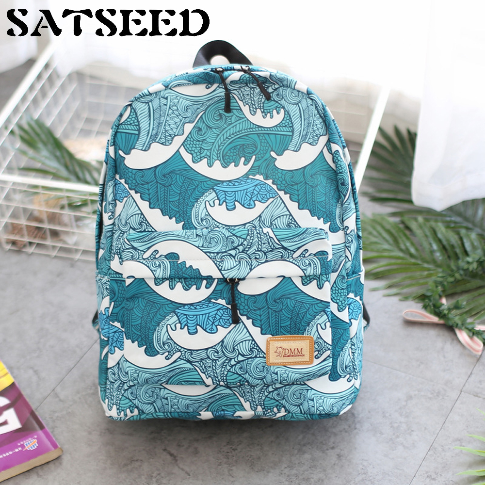 все цены на Japanese Wind Wave Printing Bag Korean Version Nylon Waterproof Thickened Leisure Backpack College and Middle School Bag