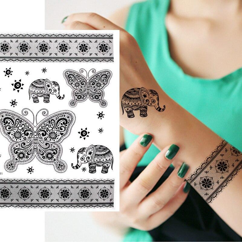 1pcs Henna Black Lace Tattoo Sticker Vintage Sun Flower