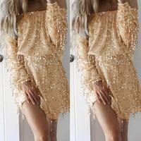 Delle Donne di modo Oro Vestito di Paillette Manica Lunga Formale Mini Sexy Off Spalla Abiti