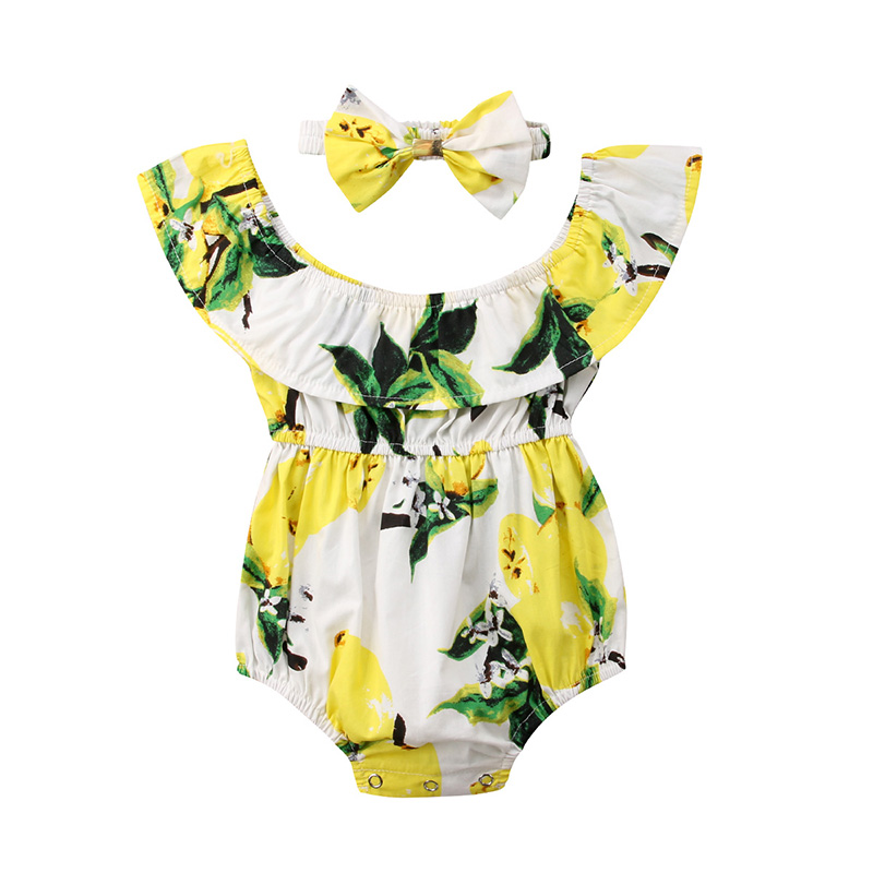 Kid Newborn Baby Girl Lemon Off-Shoulder Romper Bow Bodysuit Sunsuit Outfits Set