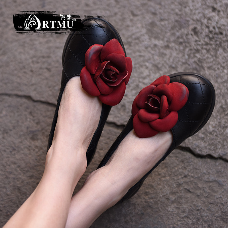 Artmu Original New Flower Genuine Leather Shoes Thick Sole Wedges Heels Handmade Retro Women shoes 1585 artmu original new flower genuine leather shoes thick sole wedges heels handmade retro women shoes 1585