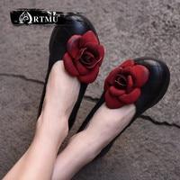 Artmu Original New Flower Genuine Leather Shoes Thick Sole Wedges Heels Handmade Retro Women shoes 1585