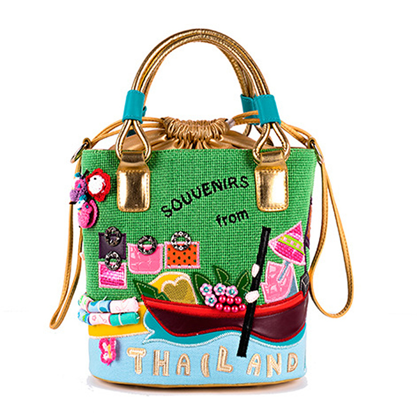 23X25cm Thailand Theme Candy Color Buckets Creative Canvas Bag A4683
